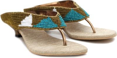 Bonjour Women Gold Heels at flipkart