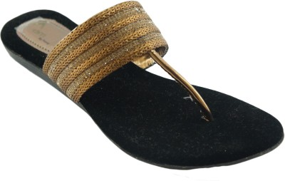 AM by Penny Women Black, Gold Flats