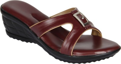 Niremo Cherry Adorable Synthetic Leather Women Maroon Wedges