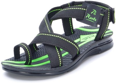 Pu-Rocks Men Black, Green Sandals