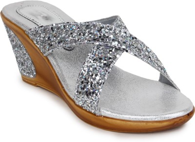 Shoetopia Women Silver Wedges
