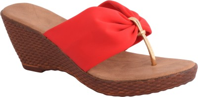 Strapup Women Red Wedges