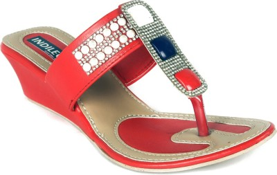 INDILEGO Women Red Wedges