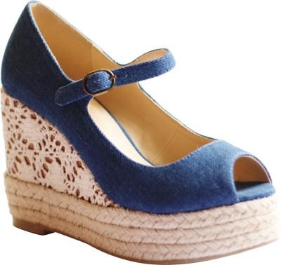 Kanabis Women Blue Wedges