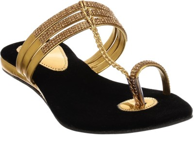 Brandvilla Women Gold Flats