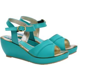 FashionPedia Women Green, Blue Wedges