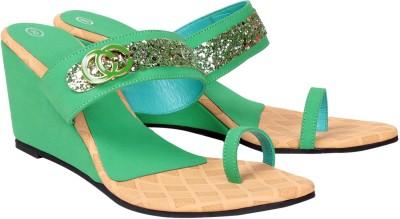Engross Women Green Wedges