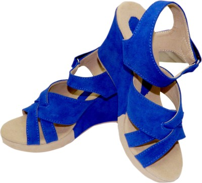 Heels And Toes Women Blue Wedges