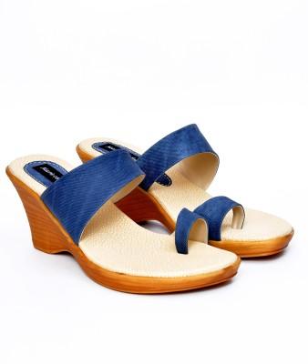Marie Comfort Girls Blue Wedges