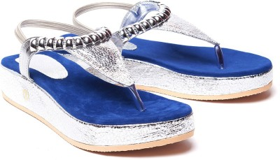 Comfort Stylish Women Blue, Silver Wedges