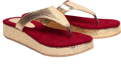 Comfort Red Women Red, Gold Flats
