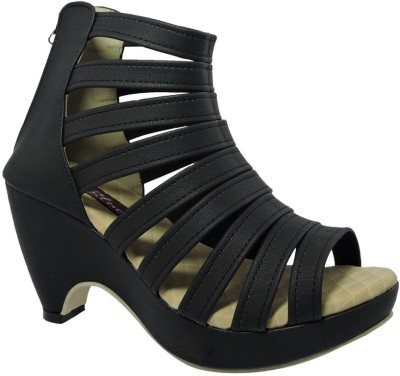ALA MODE Women Black Heels
