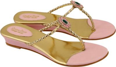 Charu- Diva Design Studio Women Pink, Gold Wedges