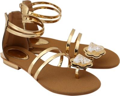 Charu- Diva Design Studio Women Gold, Tan Flats