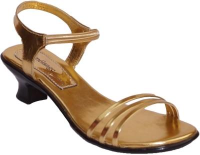 Mmelange Women Gold, Gold Heels