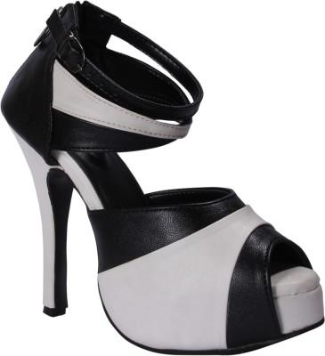 John Sparrow Women White, Black Heels