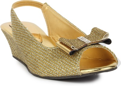 Star Style Women Gold Wedges