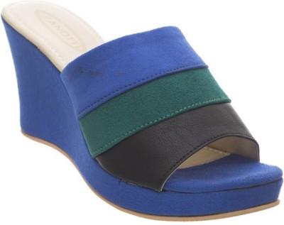 Diva Women Blue, Black Wedges