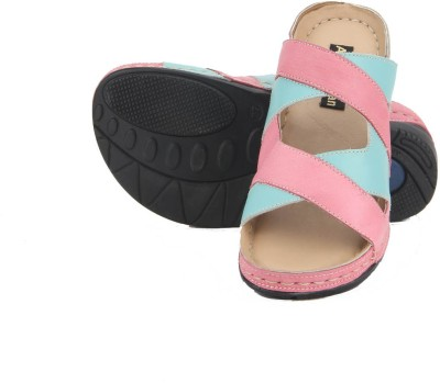 Aditi Wasan Genuine Leather Pink-Blue Women Pink Flats