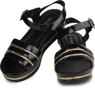Shoetopia Women Black Wedges