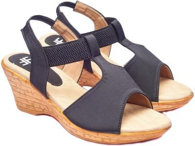 Foot Furnish Girls, Women Black, Beige Wedges
