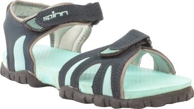 Spinn Women Black, Green Sports Sandals