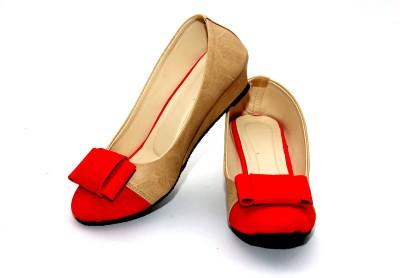 Stylish Step Women Red, Beige Wedges