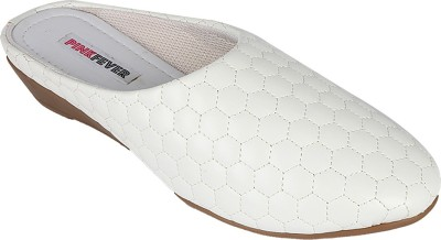Pink Fever Women White Flats