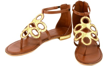 Claude Lorrain Claude Lorrain Brown Shimmer Gladiator Women Brown, Gold Flats