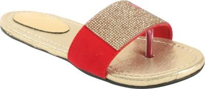 Zachho Women Red, Gold Flats
