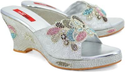 Shoedeal 305 Women Silver Wedges