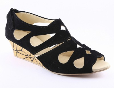Cenizas Collage Fly Women Black Wedges