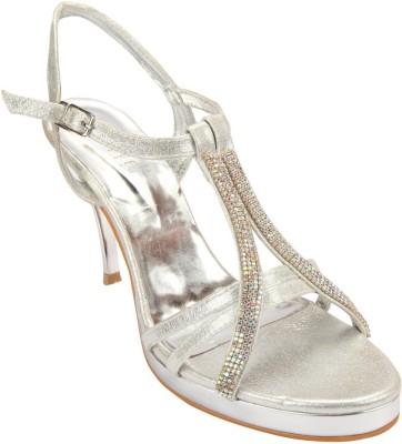 Wet Blue Women Silver Heels