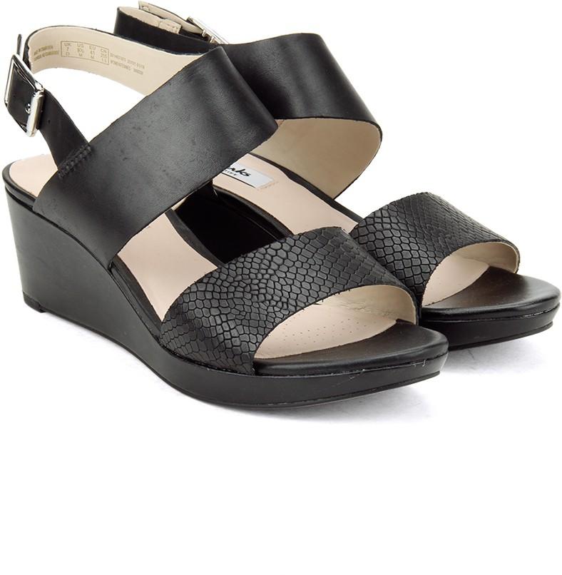 a1a8350c5e8d6c Clarks Ornate Fleur Black Leather Women Black Leather Sports Sandals