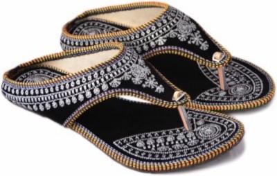 Nanak creation Women Black, Silver Flats