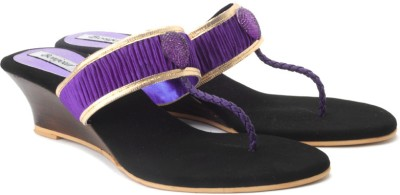 Bonjour Women Gold, Purple Wedges