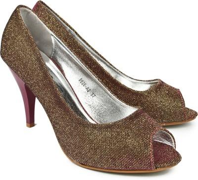 Jove Women Gold, Maroon Heels