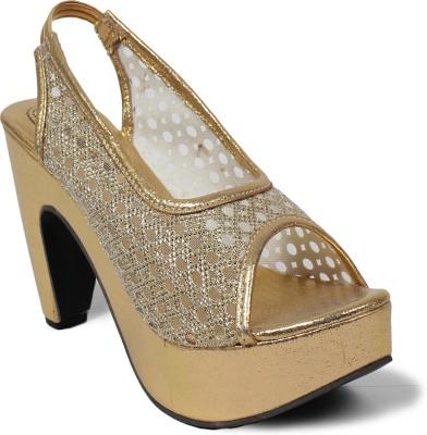 Bellafoz Women Gold Wedges