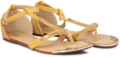 20Dresses Mustard Magnifique T Strap Flats Women Yellow, Beige Flats
