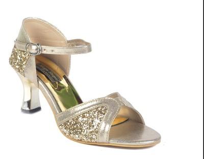 Mega Steps Women Gold Heels