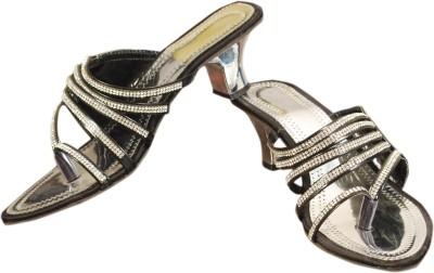 Styleon India Women Black, Silver Heels