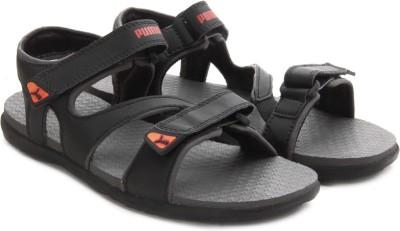 Puma Women black-dark shadow-high risk red Sports Sandals