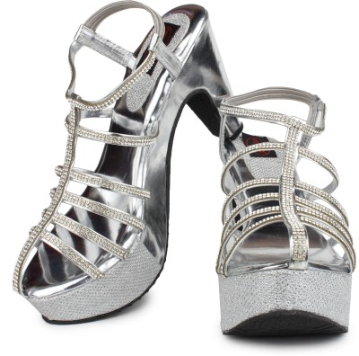 Queen Steps Women Silver Wedges