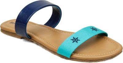 Blue Button Women Blue Flats