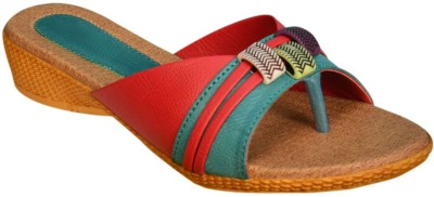 Jarwal Collection Women Green, Red Wedges