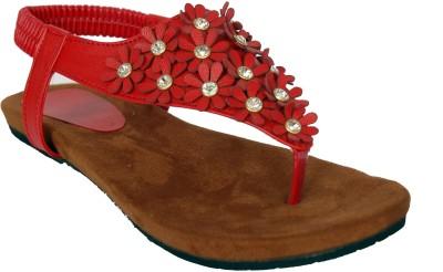 Studio 9 Flowery Stonned Women Red Flats