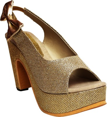 Zohra Collection Women Gold Heels
