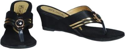 Luca Fashion Women Black, Gold Wedges