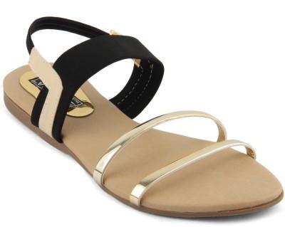 Anupamaa Women Black, Gold Flats