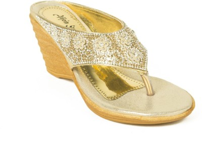Adjoin Steps Women Gold Wedges